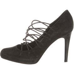 Pre-owned Gianvito Rossi Suede Cage Pumps ($225) ❤ liked on Polyvore featuring shoes, pumps, black, pointed toe pumps, black caged shoes, pointy-toe pumps, pointy toe shoes and suede shoes