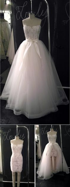 Detachable skirt; From ceremony to reception.