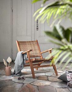 Wooden garden armchair and wicker resin - ZUJAR - achair Outdoor Spaces, Outdoor Chairs, Outdoor Furniture, Outdoor Decor, Chair Design, Furniture Design, Indoor Places, Wooden Armchair, Wooden Garden
