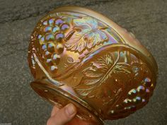 Gorgeous US Glass Palm Beach Honey Marigold Master Carnival Berry Bowl Minty