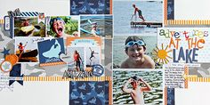Bella Blvd Max collection. Team up with PageMaps sketches. At the Lake 2-page layout by DT member Jodi Wilton