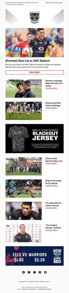 Great newsletter design from the NZ Warriors #emaildesign