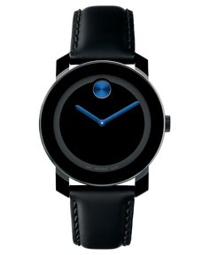 Movado Watch, Swiss Bold Medium Black Coated Leather Strap 36mm 3600100 - Men's Watches - Jewelry & Watches - Macy's