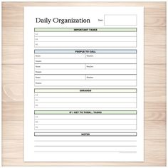 Get your daily life organized with this category task list. A printable full page daily task list for your daily personal activities and responsibilities. This list highlights many of the common tasks