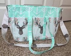 Mint and Coral Floral Deer Arrow Diaper Bag by SewSweeterBaby