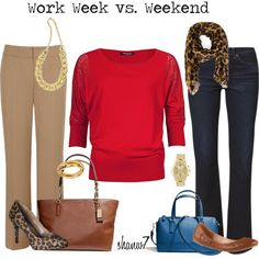 Red shirt - work vs weekend. With leopard print so it doesn't look like you work at Target. Good thinking.