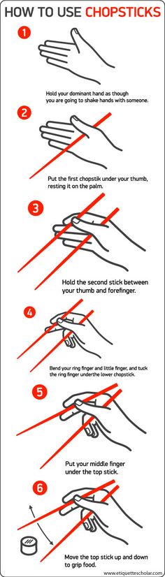 to Use Chopsticks! - Six easy etiquette steps to using chopsticks correctly!How to Use Chopsticks! - Six easy etiquette steps to using chopsticks correctly! Simple Life Hacks, Useful Life Hacks, Using Chopsticks, How To Hold Chopsticks, Dining Etiquette, Kitchen Hacks, Things To Know, Food Hacks, Good To Know