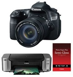 Canon EOS 60D DSLR Camera with 18-135mm Lens and Inkjet Printer Kit