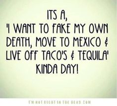 It's a, I want to fake my own death, move to Mexico & live off of tacos & tequila kinda day.