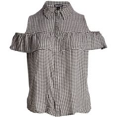 Fashion Web Black & White Gingham Cutout Button-Up Top ($17) ❤ liked on Polyvore featuring plus size women's fashion, plus size clothing, plus size tops, plus size, long tops, long length tops, button up top, button down top and frill top