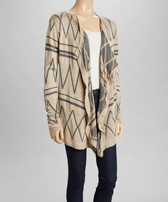 Another great find on #zulily! Taupe & Charcoal Long-Sleeve Open Cardigan by Say What? #zulilyfinds