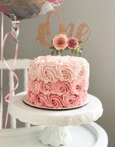 One Year Old Cake Topper, Floral Cake Topper, Glitter Cake Topper, Smash Cake , Girl Cake Girls First Birthday Cake, Birthday Parties, Birthday Ideas, One Year Birthday Cake, Birthday Cakes For Girls, First Birthday Cake Topper, Birthday Cake With Roses, 21st Birthday, 80th Birthday Cakes