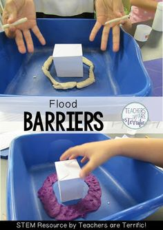 STEM Challenge: A Fabulous experiment and design challenge! Kids experiment with absorbent materials and then use the test results to design a flood barrier. Details and a video on my blog!