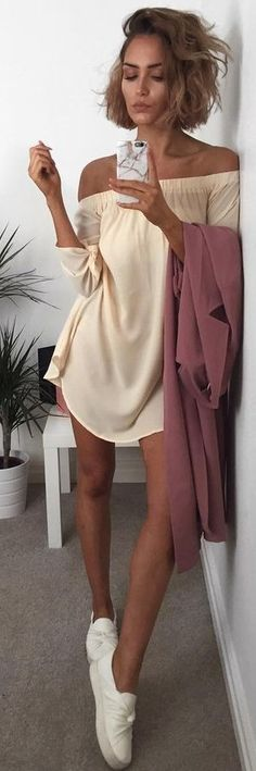 Short Hair + Off The Shoulder Dress                                                                             Source