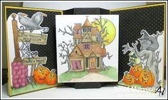 Art Impressions Rubber Stamps: Halloween ...  Haunted House TF (Sku#4688) handmade fancy funky fold card.  crows, birds, pumpkins, jack-o-lanterns, black cat, spider web