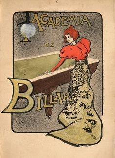 Maurice Utrillo created this small vintage poster around 1920. He was a prolific fine artist from the notorious neighborhood of Montmartre, Paris, but created only a few commercial posters. This example for a Billiards Club depicts a fashionable woman playing the sport. The way the artist uses her dress to form part of the border of the image shows the influence of the Art Nouveau style, which influenced graphic and decorative art of the day.