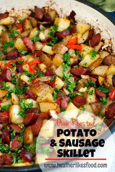 Oven Roasted Potato and Sausage Skillet | Dinner Recipe http://heatherlikesfood.com