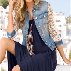 """CHICO'S DENIM AND LACE JACKET Very pretty denim jacket with lace sleeves. 24"""" in length. Dress up or down. Size Chico's 2 which is an xl. Listing for a family member. This jacket really is a beautiful piece! Chico's Jackets & Coats Jean Jackets"""