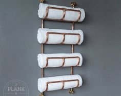 Copper Pipe Bathroom Towel Rack in an Industrial / Urban style. 4 Tier Rail. Hand Crafted