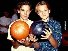 Young Leonardo Dicaprio and Tobey Maguire bowling (1989)