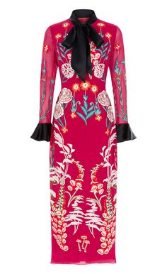 Woodland Tie Dress - Cascading flora and fauna adorn this majestic thistle pink Woodland Tie Dress, which perfectly captures the enchanting mood of the countryside-inspired Autumn '17 collection. Finished with a silken necktie and softly-flared cuffs, this meticulously crafted silk georgette style falls to a flattering mid-length hem.