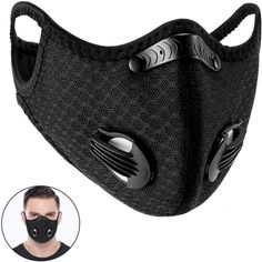 OWSEN Dustproof Anti Dust Face Fabric Mouth Fabric with 15 Extra Carbon Filters 2 Valves for Soldering Cycling Mask, Exhaust Gas, Pollen Allergies, Black Mask, Air Purifier, Winter Sports, Multifunctional, 6 Years, Caps Hats