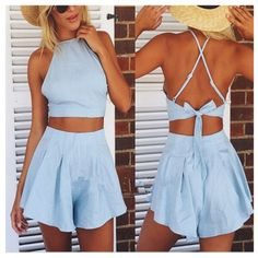 Cheap Sexy Tank Sleeves Backless Tied Solid Blue Blending Two-piece Regular Jumpsuit #PinoftheDay @iamalovelywoman