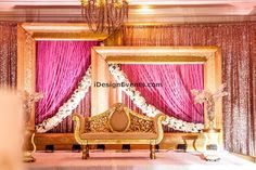 Gold Frame Backdrop with Gold Sequin Glitz Backdrop along with Pink Chiffon Draping, Ivory Flower Garlands and Gold Maharani Loveseat Great Gatsby theme. Wedding Stage Design, Desi Wedding Decor, Wedding Stage Decorations, Backdrop Decorations, Baby Shower Decorations, Backdrops, Gold Wedding, Wedding Designs, Wedding Reception