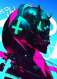 Auʇıɔɥɹısʇ on Behance Cyberpunk Aesthetic, Arte Cyberpunk, Character Art, Character Design, E Skate, Neon Noir, Satanic Art, Cyberpunk Character, Futuristic Art