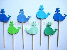Pas cher bleu et vert baleines parti Picks - hauts de forme de petit gâteau - cure - dents - alimentaire Picks mariage baby shower fête d'anniversaire favors24pcs