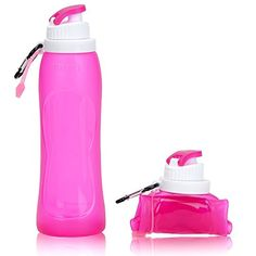 Kivi Collapsible Water Bottle  BPA Free  FDA Approved  Leak Proof Silicone Sports Travel Outdoor Bottle Pink -- Find out more about the great product at the image link.