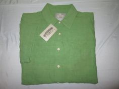NEW Men's MARGARITAVILLE Casual Camp Shirt Sz L - Green  - Silk Linen Blend NWT #Margaritaville #ButtonFront