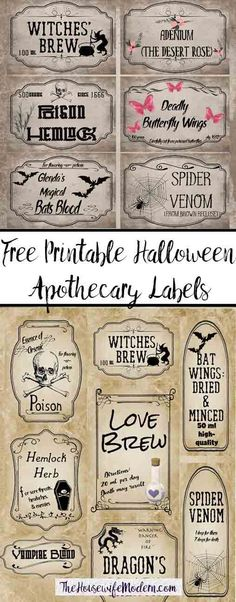 Free Printable Halloween Apothecary Labels: 16 Designs plus Blanks! Plus designed blanks for any Halloween need. Includes links to more free Halloween printables. Halloween Apothecary Labels, Halloween Bottle Labels, Halloween Potions, Theme Halloween, Vintage Halloween, Halloween Crafts, Halloween Decorations, Halloween Scrapbook, Halloween Dinner