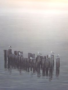 Robert Bateman Gulls On Pilings