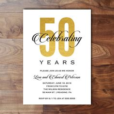 Printable Anniversary Party Invitation 50th by birchandriver