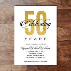 Th Wedding Anniversary Invitation  Gold  White  Retro