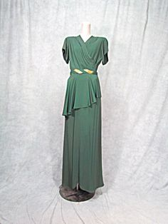 Vintage 1940s Ladies Runway Fomal 1930s Dress Hollywood