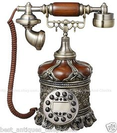 WOODEN Emboss Brown Telephone Retro Vintage Antique Style Home Decor Style - 5th village