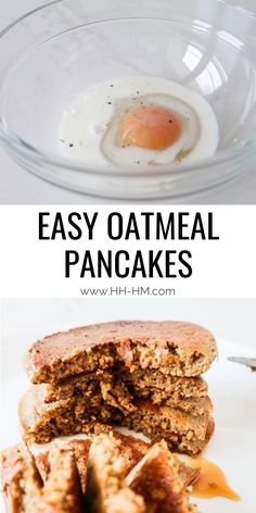 Clean eating oatmeal pancake recipe! This healthy pancake recipe is super quick, easy and delicious! These healthy pancakes are made with oats and honey and re flourless and refined sugar free! They're also dairy-free and gluten-free pancakes, perfect for a quick clean eating breakfast that you can even meal prep and eat on the go! Clean Eating Oatmeal, Clean Eating Breakfast, Breakfast Menu, Breakfast For Kids, Quick Pancake Recipe, Pancakes Recipe Video, Food Prep, Food Food, Meal Prep
