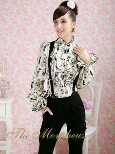 White+Black+Lady+Print+Ruffle+Collar+Flare+Sleeve+Designer+Shirt
