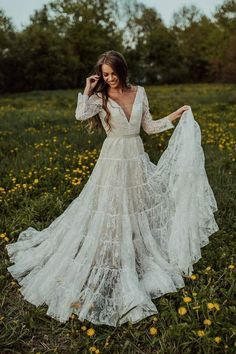 Wedding Dress Train, Rustic Wedding Dresses, Wedding Dress Sleeves, Long Wedding Dresses, Cheap Wedding Dress, Wedding Dress Styles, Bridal Dresses, Sleeve Dresses, Vintage Boho Wedding Dress