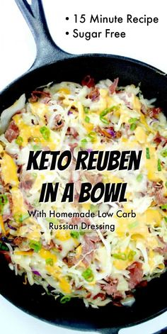 Keto Reuben In A Bowl Keto Reuben In A Bowl with homemade low c. Keto Reuben In A Bowl Keto Reuben In A Bowl with homemade low carb russian dressing! Perfect light keto lunch or dinner -reheats well for meal prepping too! Keto Foods, Ketogenic Recipes, Low Carb Recipes, Diet Recipes, Healthy Recipes, Ketogenic Diet, Recipes Dinner, Sugar Free Recipes, Vegetarian Recipes