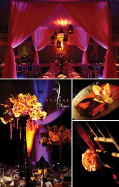 Weddings - oranges, red, purple.  Amazing lighting, flowers, lanterns.