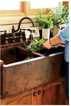 Copper sink for the kitchen-- would look so good with the granite!