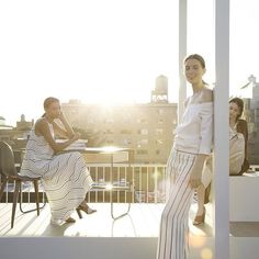 Model Eliza Hartmann for THEORY NYFW SS16 9/16/15 Sunset Rooftop Presentation