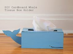 Pink Stripey Socks: DIY Cardboard Whale Tissue Box Holder - this crafter gives the dimensions to create a lovely whale tissue box cover.