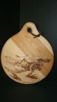 Handmade Signed Round Wood Cutting Board With Beautiful Pyrography Picture #Handmade