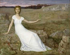 Hope // 1872 // Pierre Puvis de Chavannes // In the wake of the catastrophic Franco-Prussian War of 1870-71, the artist painted this picture of a young woman seated in a devastated landscape holding an oak twig as a symbol of hope for the nation's recovery from war and deprivation. // Walters Art Museum