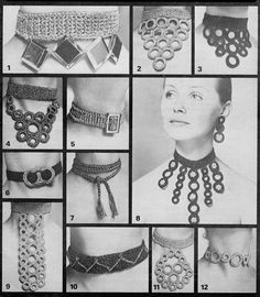 How cool is this? The patterns are from 1960's, but some of these styles are all the rage right now. Yup, fashion is cyclical.  Crochet Pattern Chokers Necklaces Jewellery vintage retro | eBay