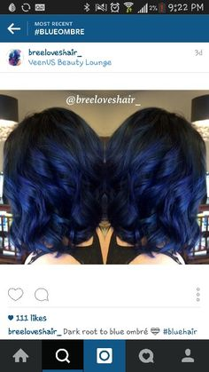 Black to blue ombre style